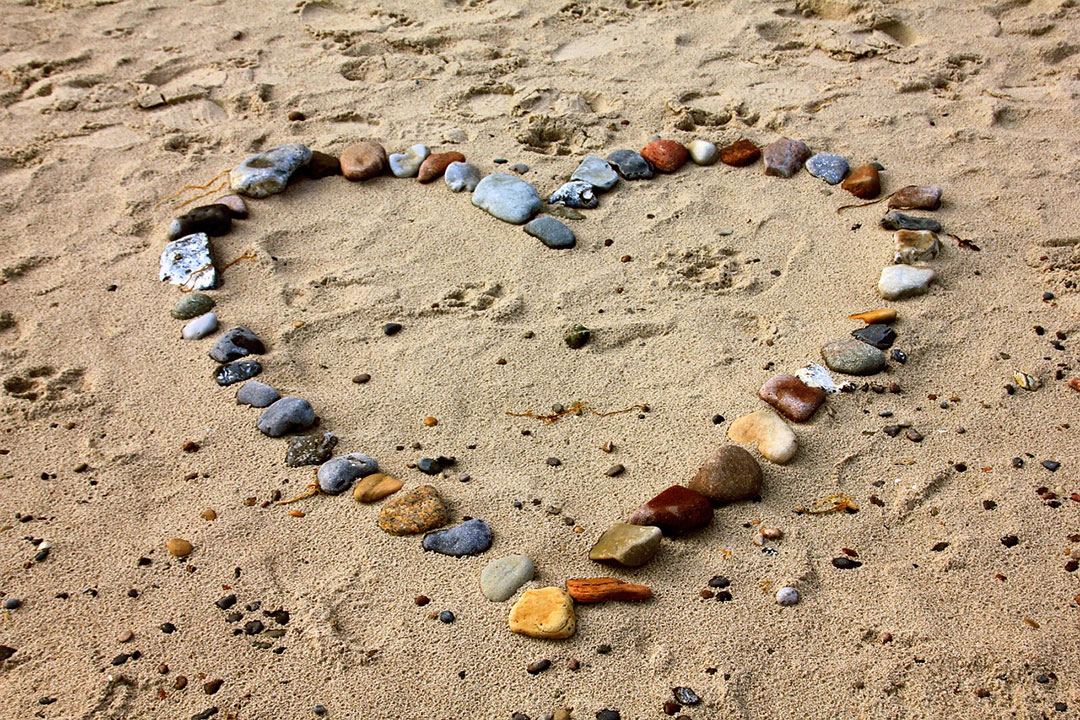 Love the Beach - Heart by Rocks